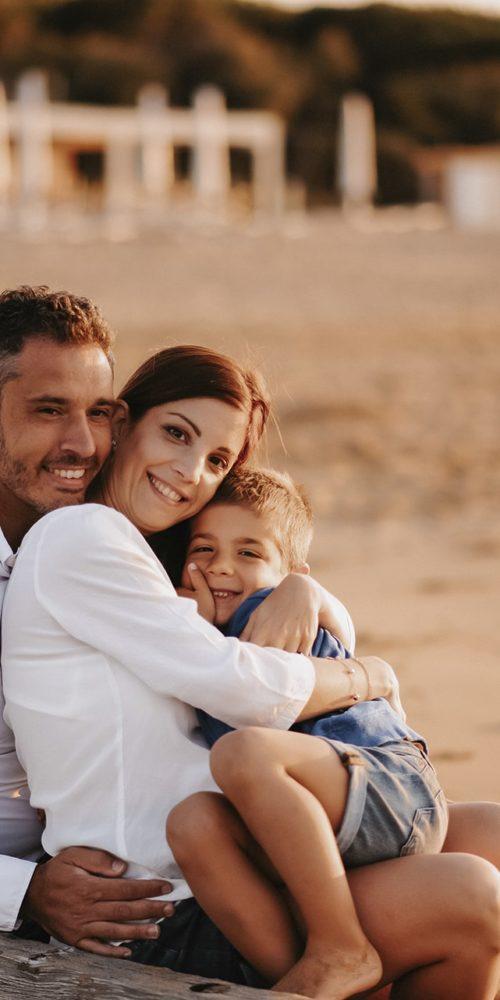 foto famiglia tramonto