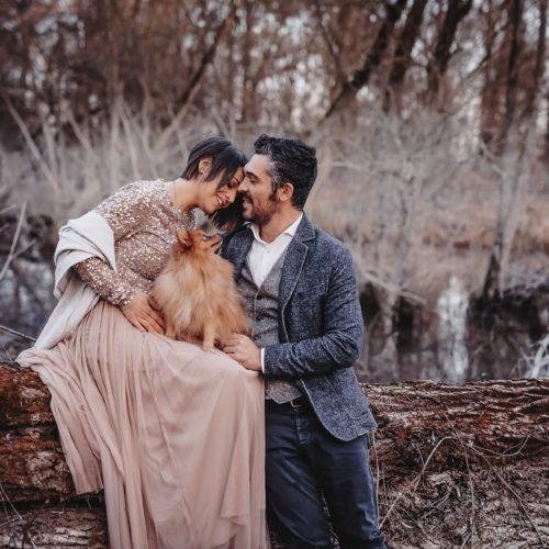 servizio fotografico maternità con cane